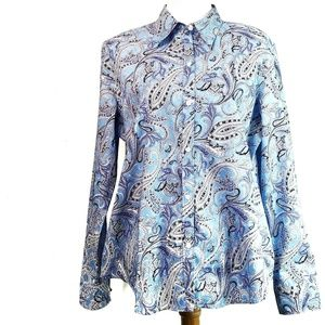 CHAPS XL Blue Paisley Button Down Shirt